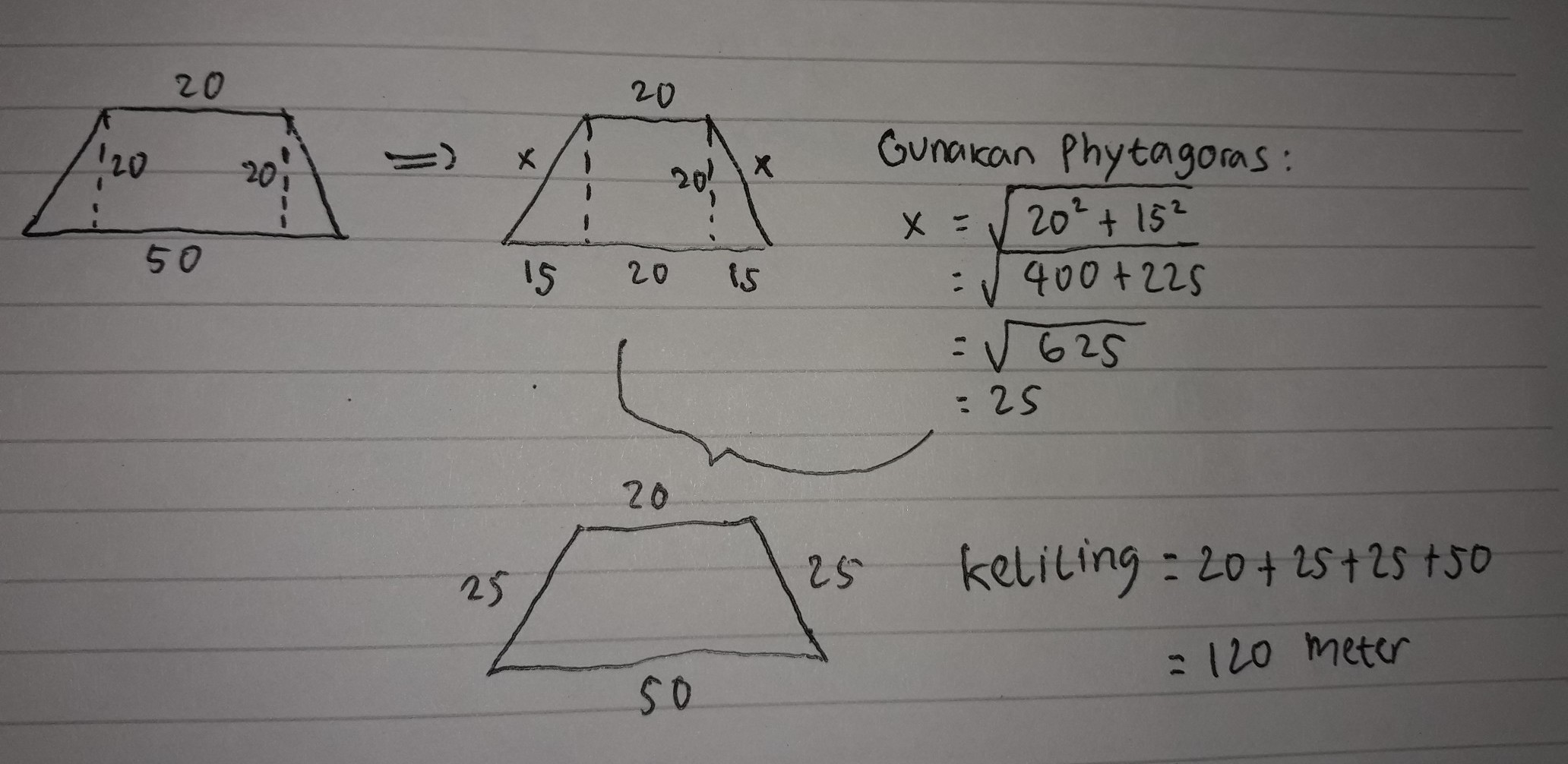 Cara mencari sisi miring trapesium siku siku youtube segitiga merupakan sebuah bangun datar yang dibatasi oleh tiga buah sisi dam memiliki tiga titik sudut. Rumus Phytagoras Trapesium Sisi Miring Siswapelajar Com