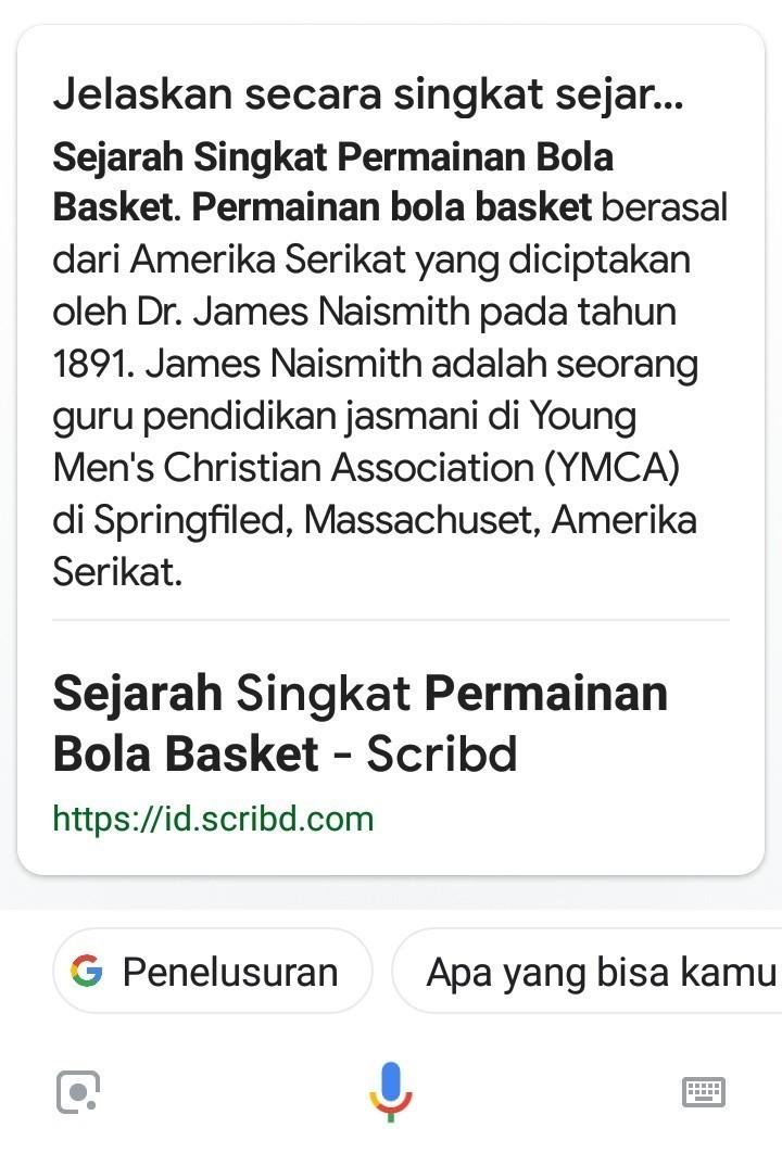 Sejarah Basket Singkat : sejarah, basket, singkat, Jelaskan, Sejarah, Terciptanya, Permainan, Basket, Brainly.co.id