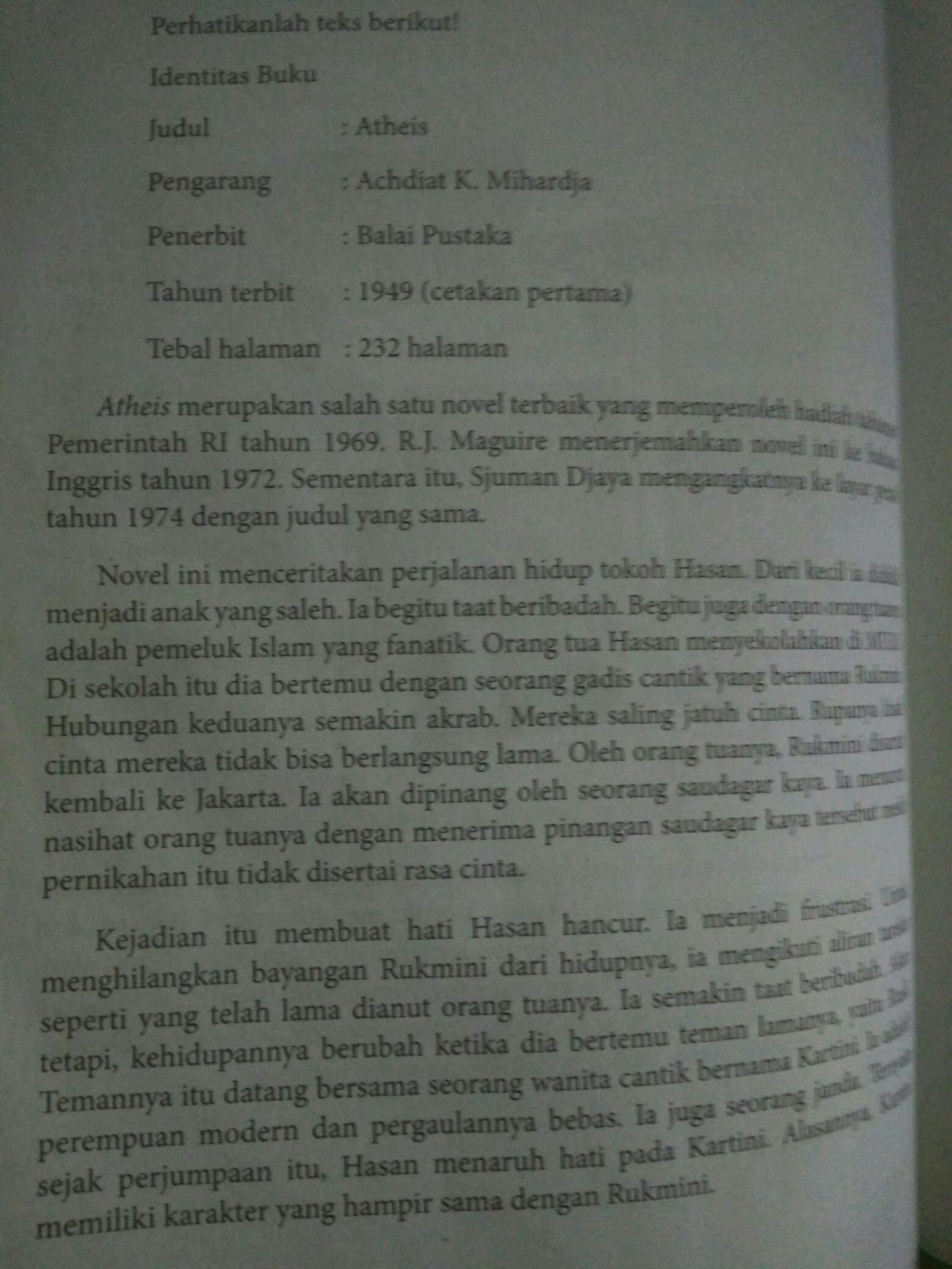 Contoh Novel Singkat : contoh, novel, singkat, Novel, Singkat, Dengan, Identitas, Buku,, Orientasi,, Sinopsis,analisis,eveluasi, Brainly.co.id
