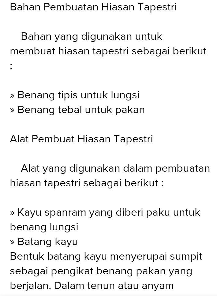 Proses Pembuatan Tapestri : proses, pembuatan, tapestri, Tuliskan, Proses, Pembuatan, Hiasan, Tapestri, Menenum, Brainly.co.id