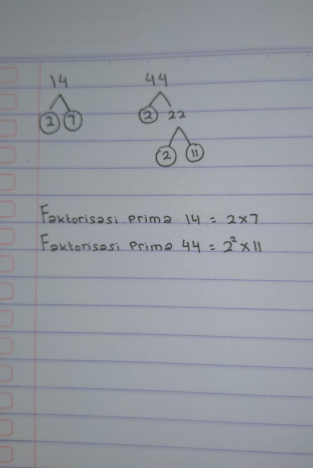 Bilangan 14 : bilangan, Buatlah, Pohon, Faktor, Untuk, Menentukan, Faktorisasi, Prima, Bilangan, Brainly.co.id