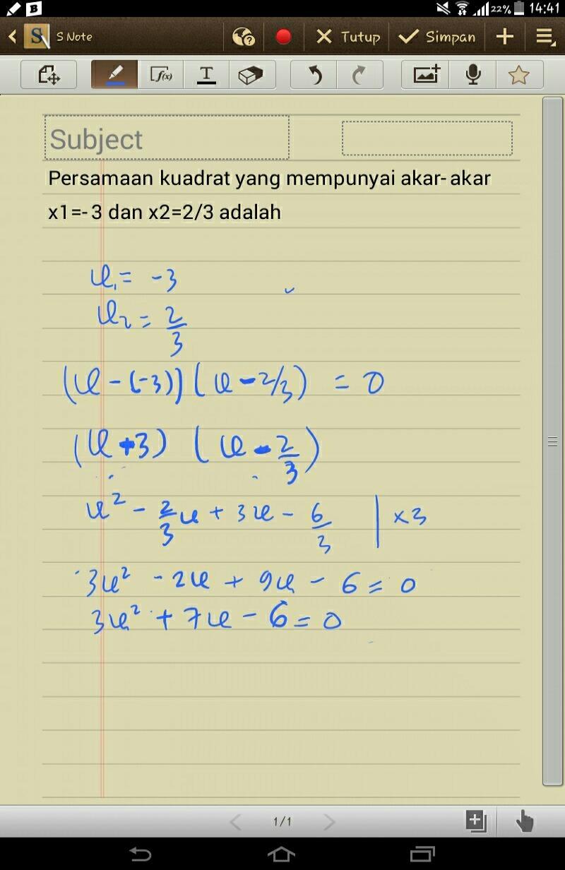 Jika Diketahui Akar Persamaan Kuadrat Adalah 3 Dan 5 Maka Persamaan Kuadratnya Adalah : diketahui, persamaan, kuadrat, adalah, kuadratnya, Persamaan, Kuadrat, Mempunyai, Akar-akar, X1=-3, X2=2/3, Adalah, Brainly.co.id