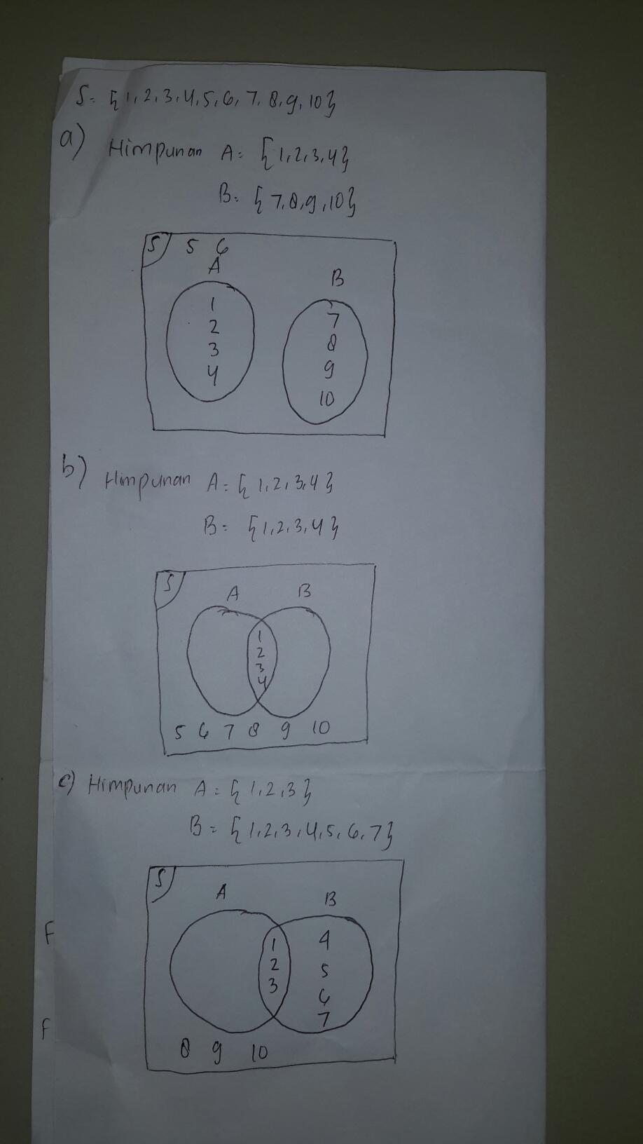 Jika Himpunan : himpunan, Gambarkan, Diagram, Himpunan, {1,2,3,4,5,6,7,8,910}, ={1,2,3,4}, Brainly.co.id