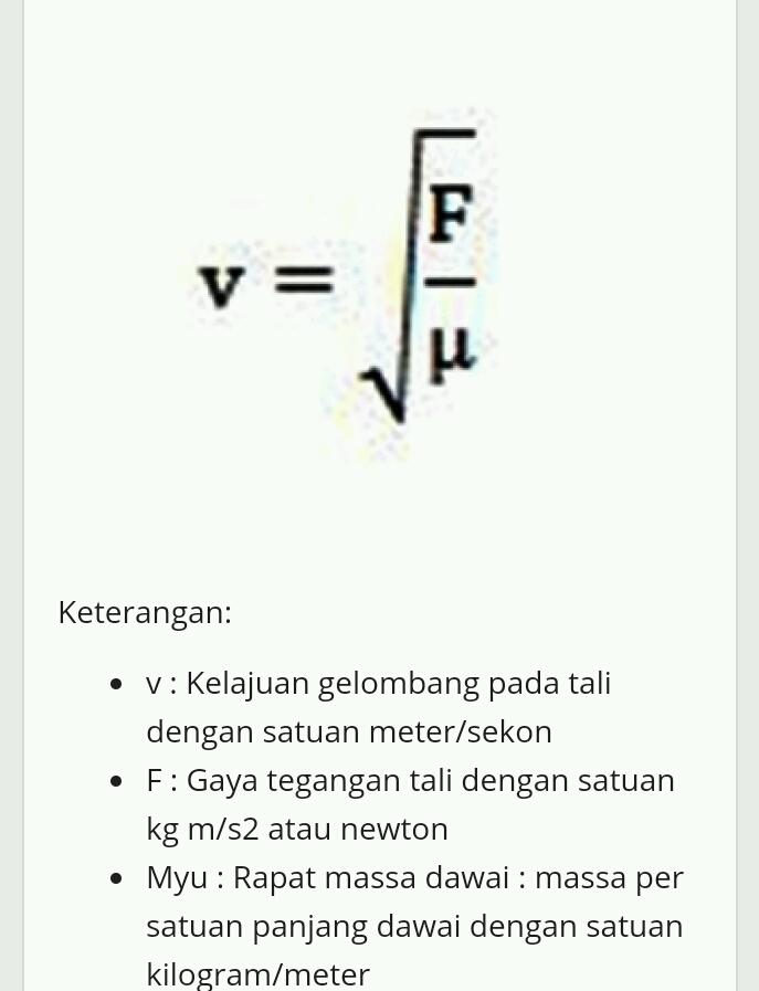 Rumus Percepatan : rumus, percepatan, Rumus, Percepatan, Gelombang, Tranversal, Brainly.co.id
