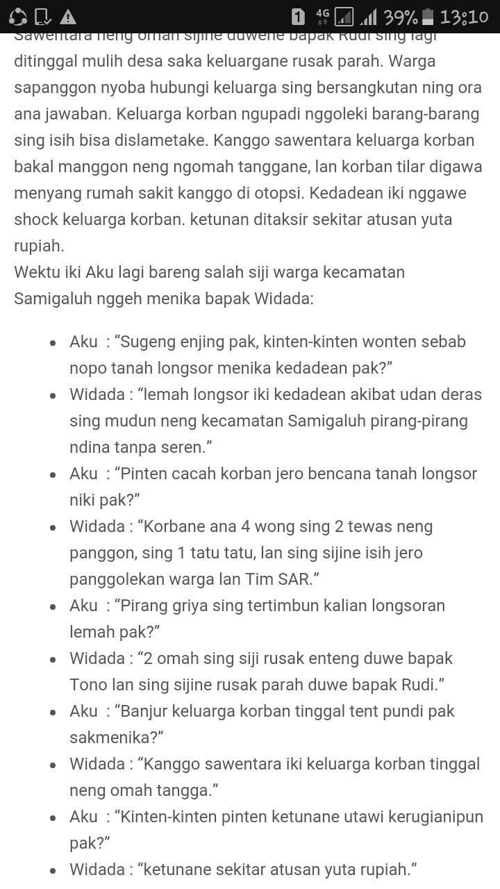 Narasi Bahasa Jawa : narasi, bahasa, Contoh, Narasi, Faktual, Dalam, Bahasa, Brainly.co.id