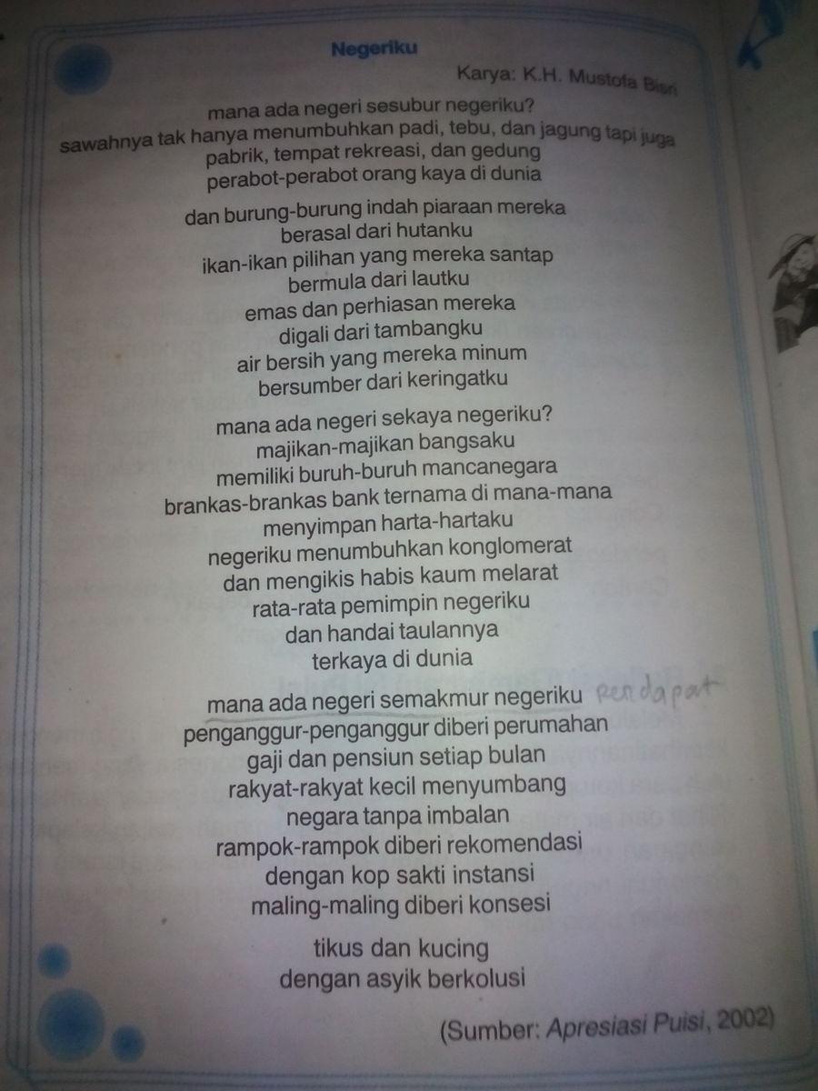 Puisi Negeriku Karya Kh Mustofa Bisri : puisi, negeriku, karya, mustofa, bisri, Puisi, Negeriku, Mustofa, Kumpulan, Terbaik