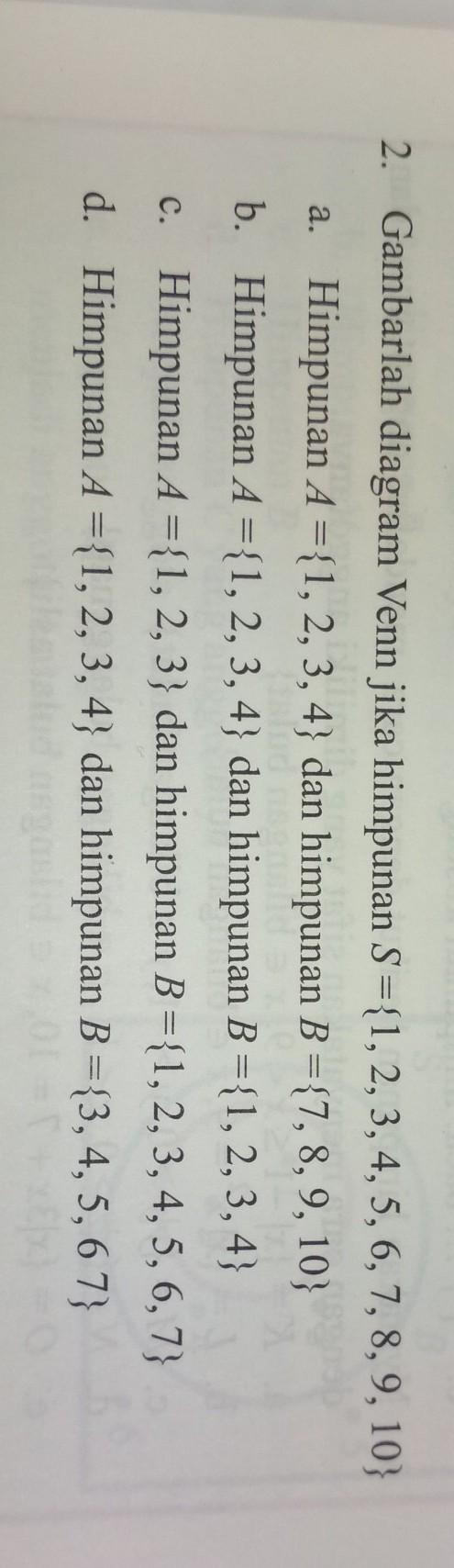 Jika Himpunan : himpunan, Gambarlah, Diagram, Himpunan, S={1,2,3,4,5,6,7,8,9,10}a.Himpunan, A={1,2,3,4}, Brainly.co.id