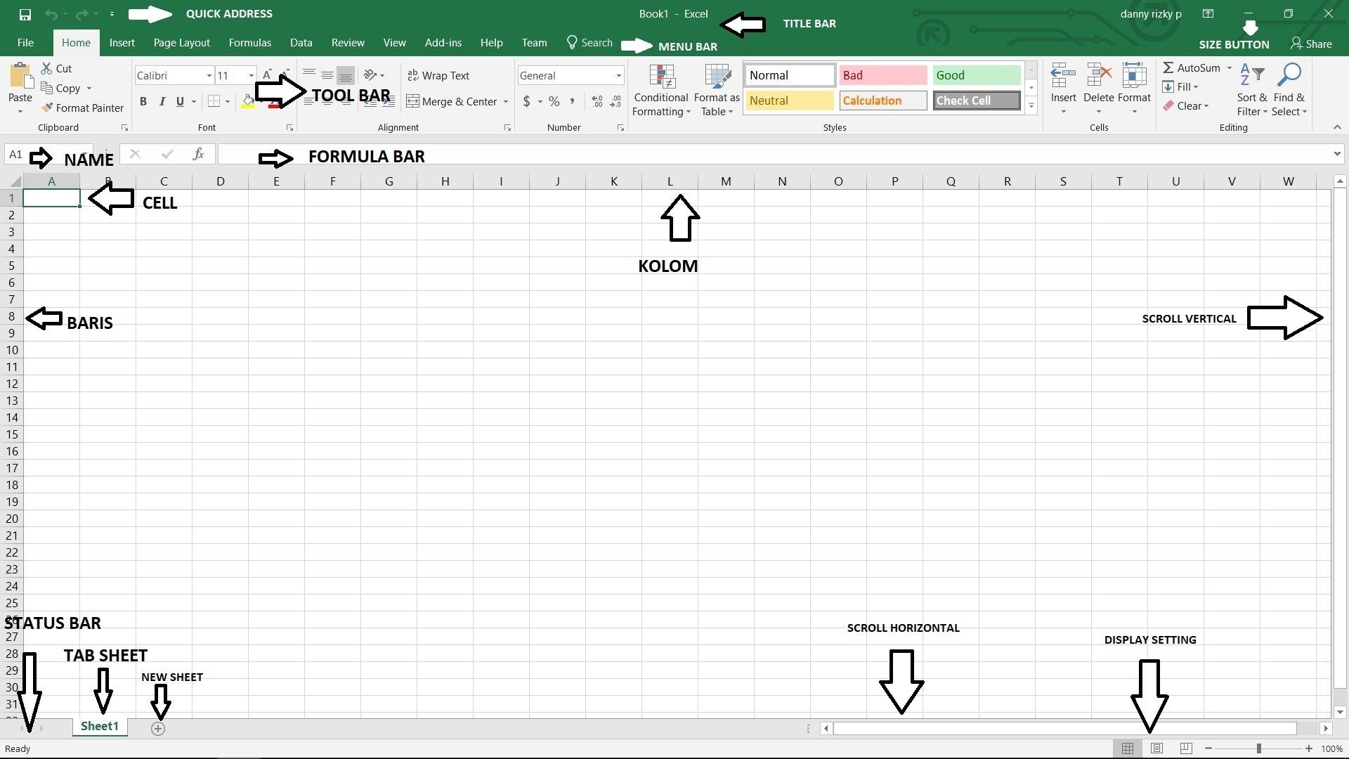 Bagian Bagian Lembar Kerja Microsoft Excel
