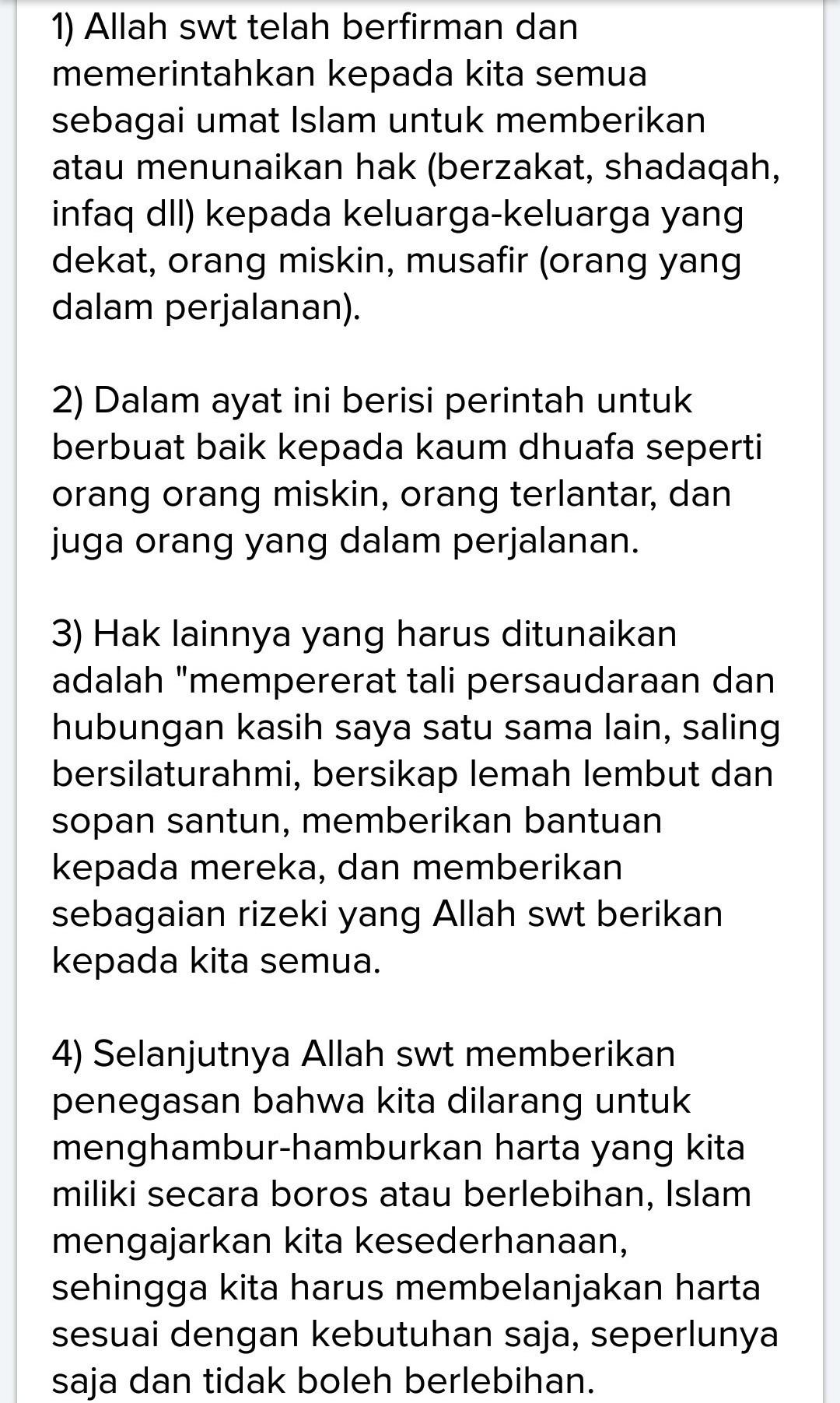 Al Isra Ayat 26-27 : 26-27, Kandungan, Isra/17:26-27, Brainly.co.id