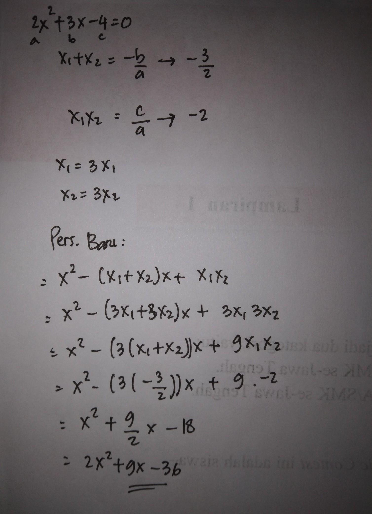 Jika Diketahui Akar Persamaan Kuadrat Adalah 3 Dan 5 Maka Persamaan Kuadratnya Adalah : diketahui, persamaan, kuadrat, adalah, kuadratnya, Diketahui, Persamaan, Kuadrat, 2x²+3x-4=0., Mempunyai, Akar-akar, Brainly.co.id