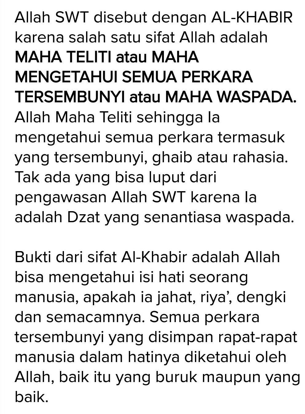 Al Khabir Artinya : khabir, artinya, Sebutkan, Bukti, Bahwa, Allah, Khabir