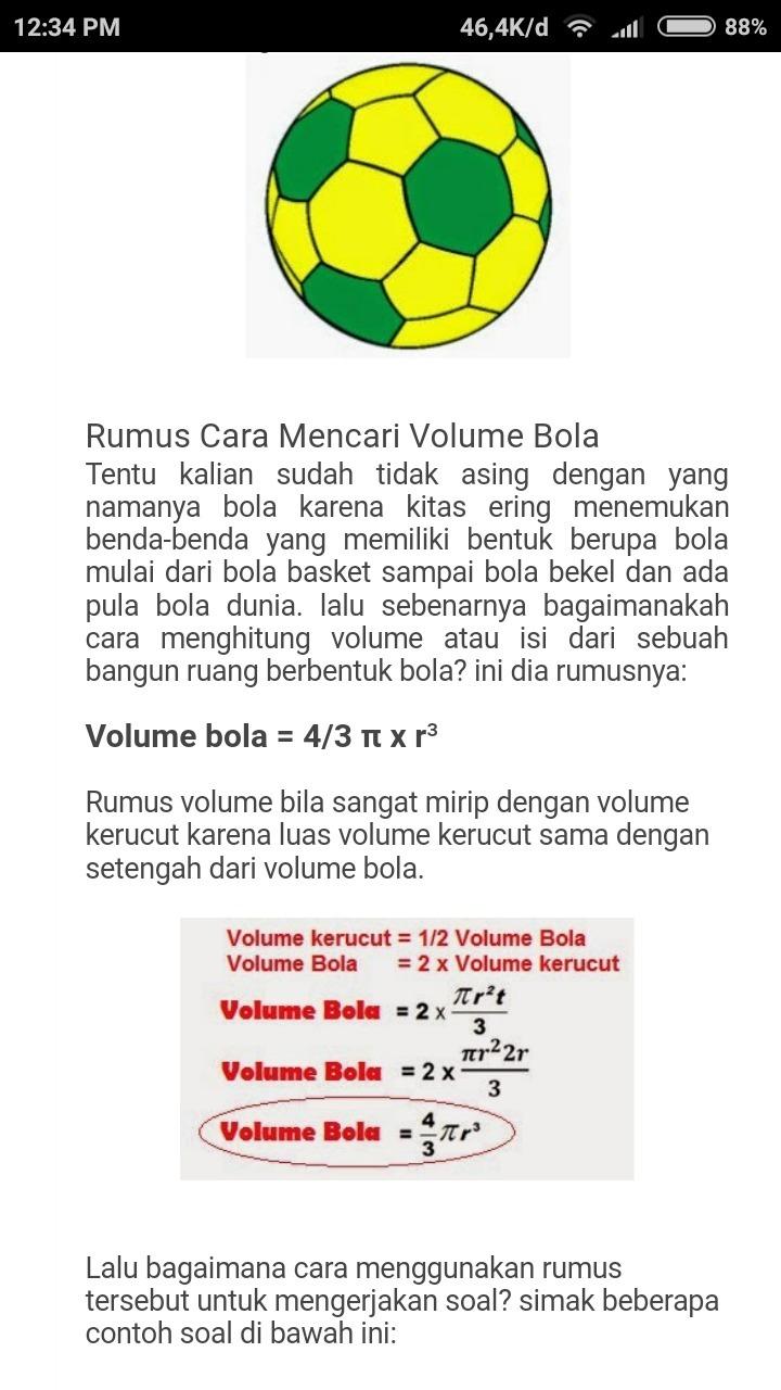 Contoh Benda Yang Berbentuk Bola : contoh, benda, berbentuk, Berapa, Volume, Bola?pakai, Pliiss, Brainly.co.id