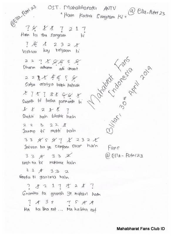 Lirik Lagu Mahabharata Drupadi : lirik, mahabharata, drupadi, Minta, Angka, Pianika, Mahabharatha, Lengkap, Brainly.co.id