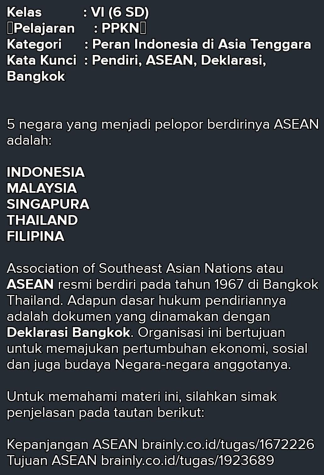 Pelopor Pendiri Asean : pelopor, pendiri, asean, Wakil, Negara, Malaysia, Mempolopori, Berdirinya, Asean, Adalah, Brainly.co.id