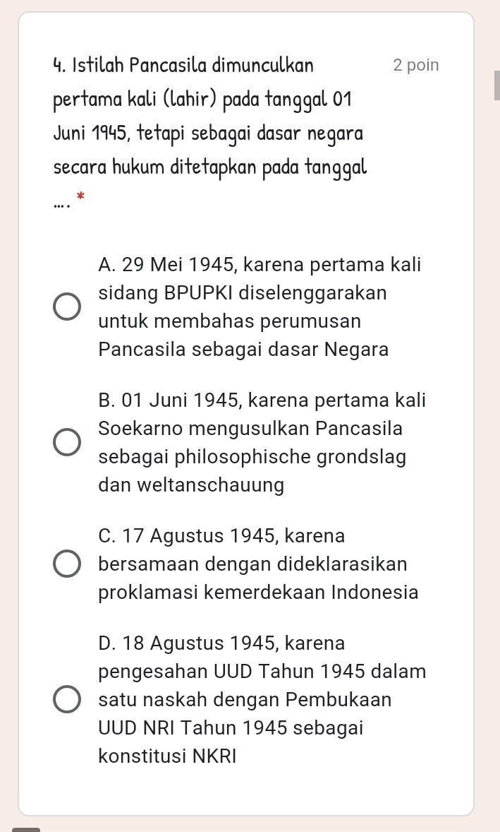Pancasila Disahkan Pada Tanggal : pancasila, disahkan, tanggal, Istilah, Pancasila, Dimunculkan, Pertama, (lahir), Tanggal, 1945,, Tetapi, Sebagai, Dasar, Brainly.co.id