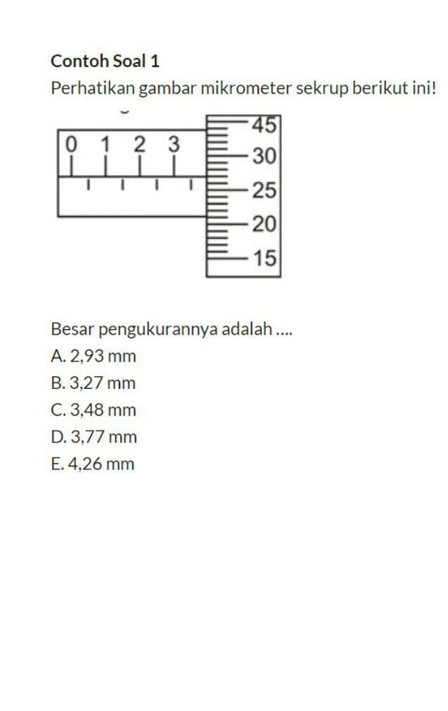 Contoh Soal Mikrometer Sekrup : contoh, mikrometer, sekrup, Contoh, 1Perhatikan, Gambar, Mikrometer, Sekrup, Berikut, Ini!450, 330252015Besar, Pengukurannya, Brainly.co.id