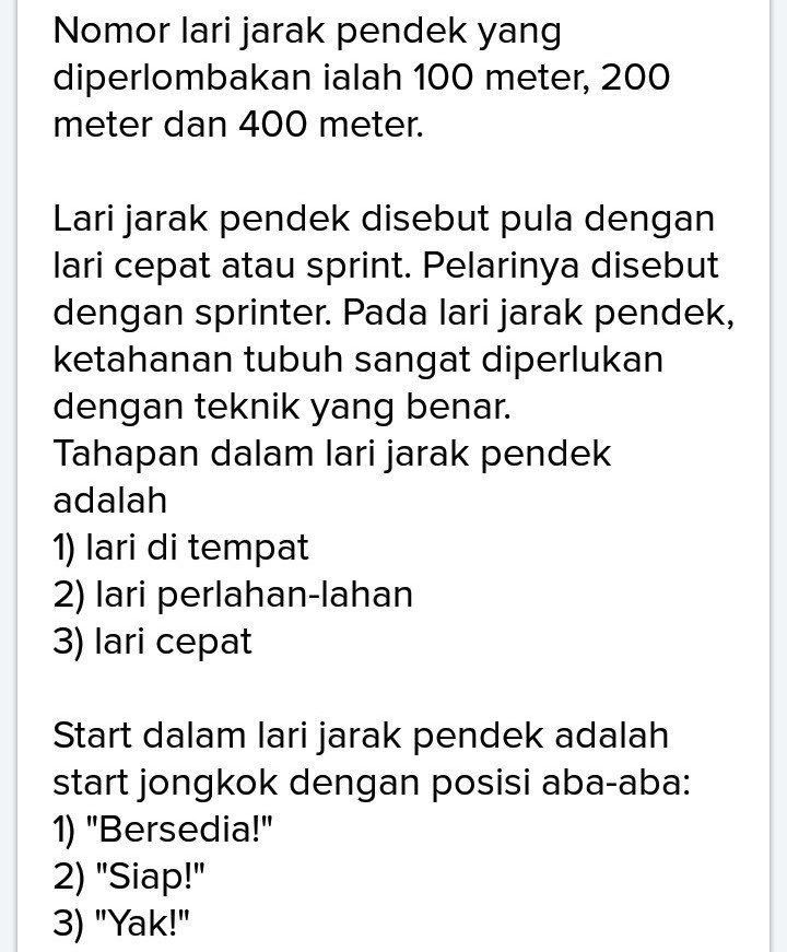 Sebutkan Nomor Lari Jarak Pendek : sebutkan, nomor, jarak, pendek, Berikut, Jarak, Pendek, Biasa, Diperlombakan, Adalah, Tolong, Bantu, Brainly.co.id