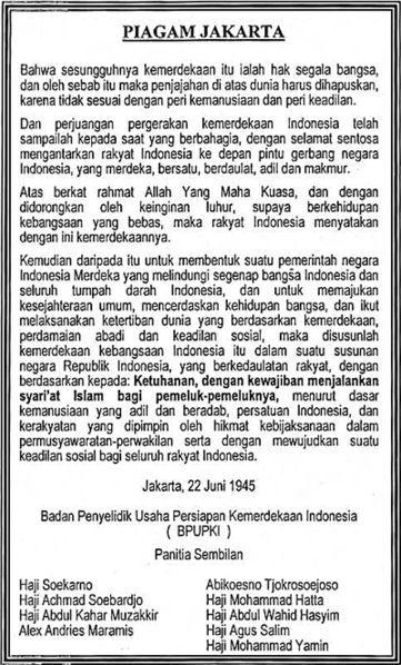 Bunyi Sila Pertama Piagam Jakarta : bunyi, pertama, piagam, jakarta, Bunyi, Pertama, Rumusan, Piagam, Jakarta, Brainly.co.id