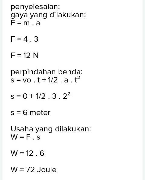 Sebuah Benda Bermassa 4 Kg : sebuah, benda, bermassa, Sebuah, Benda, Bermassa, Diam,, Kemudian, Bergerak, Lurus, Dengan, Percepatan, M/s²,usaha, Brainly.co.id