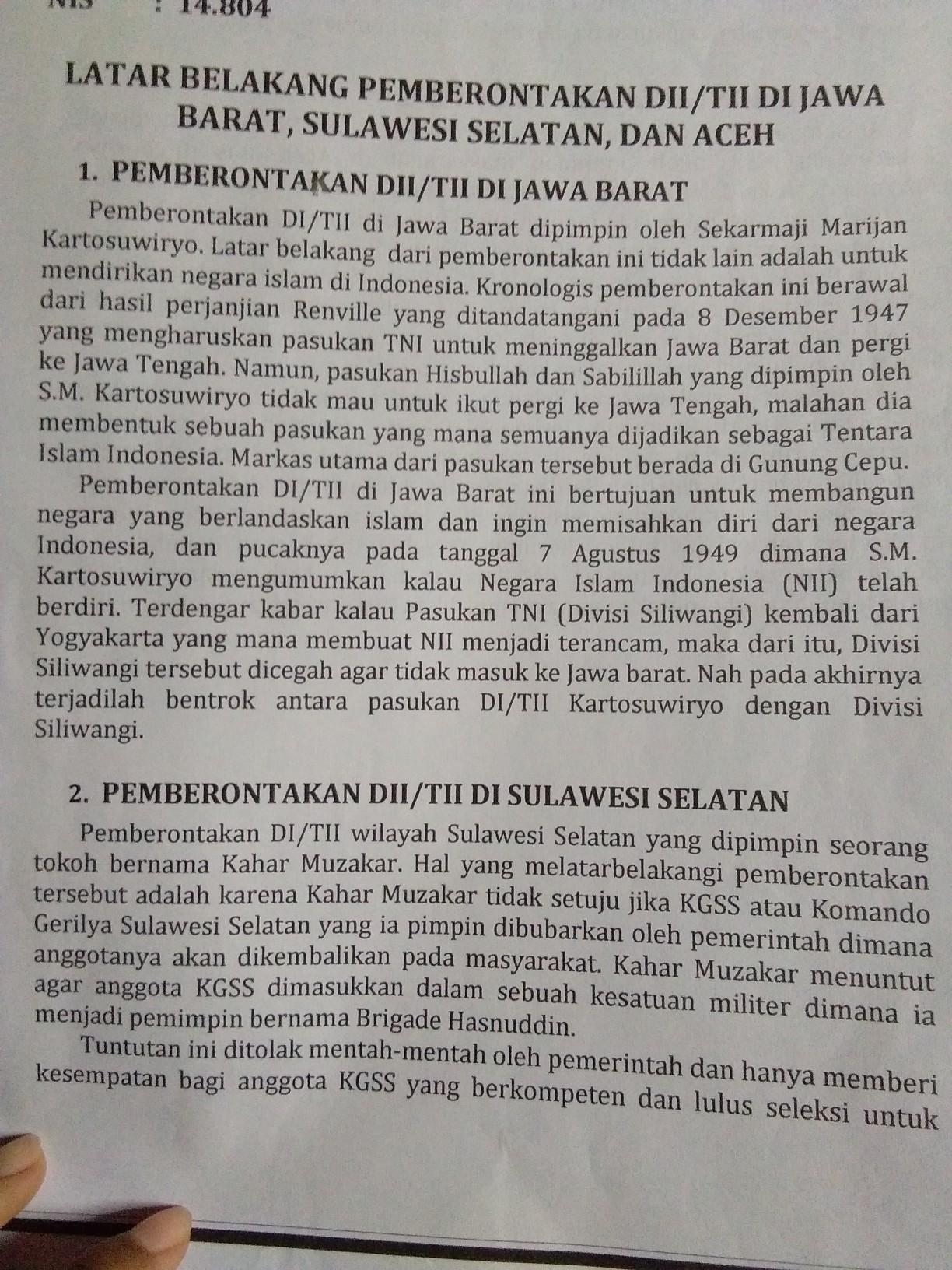Latar Belakang Di/tii Jawa Tengah : latar, belakang, di/tii, tengah, Sebab, Pemberontakan, DI/TII, Barat,, Tengah,, Sulawesi, Selatan?, Brainly.co.id