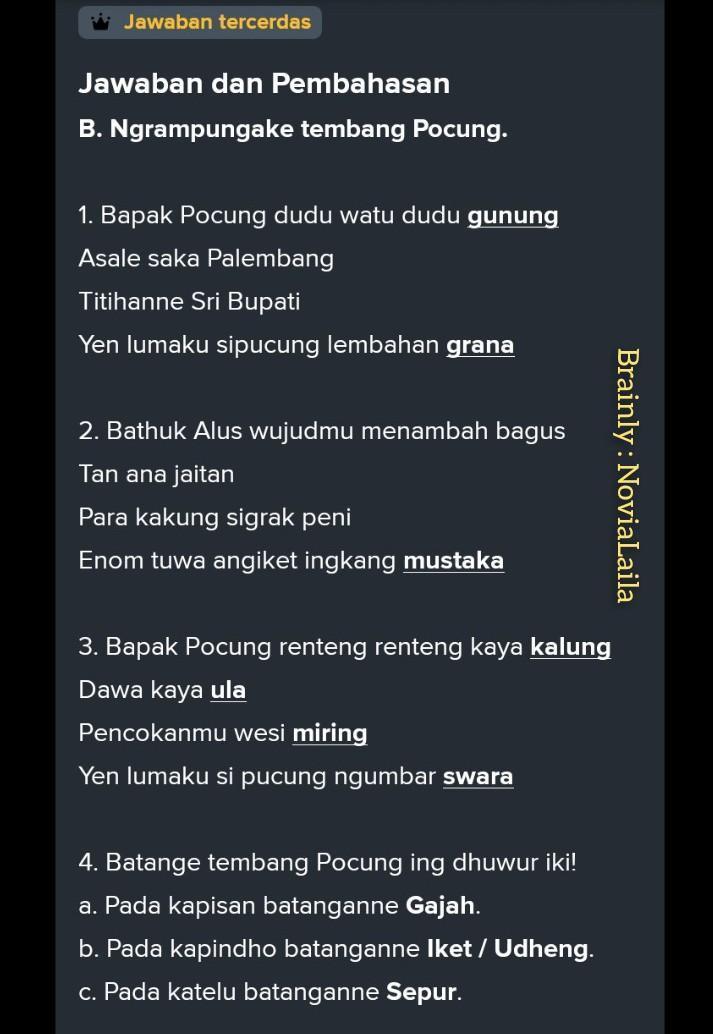Bapak Pucung Dudu Watu Dudu Gunung : bapak, pucung, gunung, 1.BATANGANE, TEMBANG, PUCUNG, NISOR, KAPISAN, BATANGE..., B.PADA, KAPINDHO, Brainly.co.id