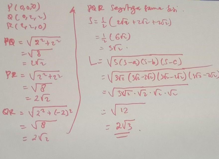 Jelaakan pengertian pemeriksaan (audit) berdasarkan pendapat. Diketahui segitiga PQR dengan titik P(0, 0, 0), Q(0, 2, 2
