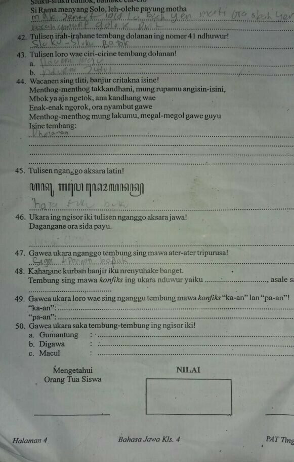 Kunci Jawaban Lks Bahasa Jawa Kelas 8 Semester 2 Rismax