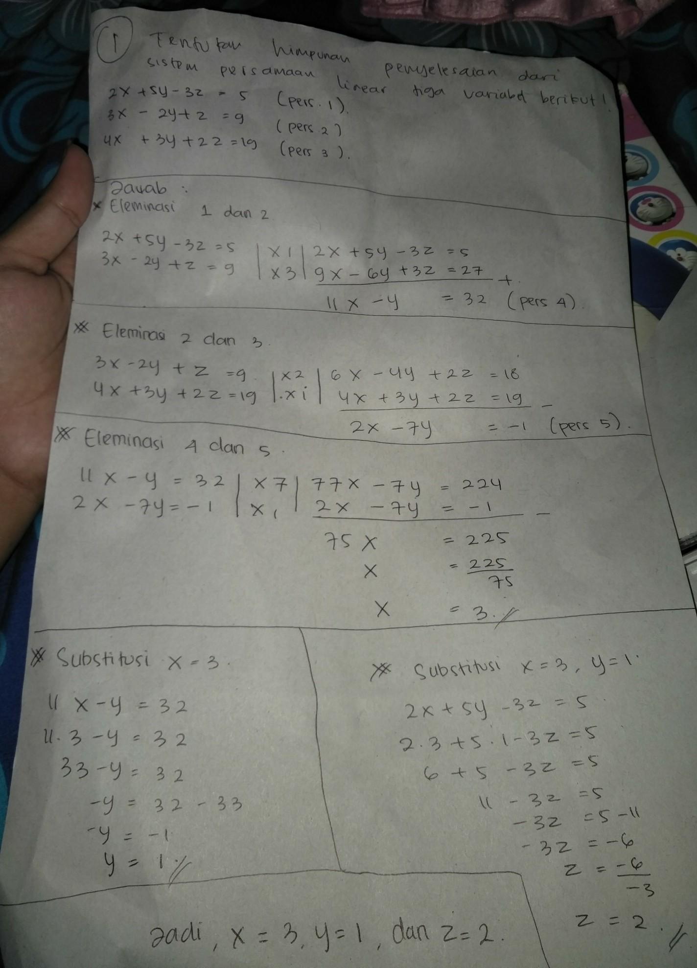 Persamaan Tiga Variabel : persamaan, variabel, Contoh, Penyelesaiannya, Sistem, Persamaan, Linear, Variabel, Brainly.co.id