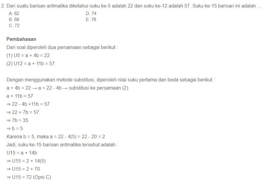 29/03/2021· soal & kunci jawaban latihan usbn sma/smk pelajaran matematika pilihan ganda, deret aritmatika simak dengan teliti soal dan kunci jawaban latihan usbn untuk sma/smk mata pelajaran matematika bagian pilihan ganda. Contoh Soal Deret Aritmatika Dan Jawaban Brainly Co Id