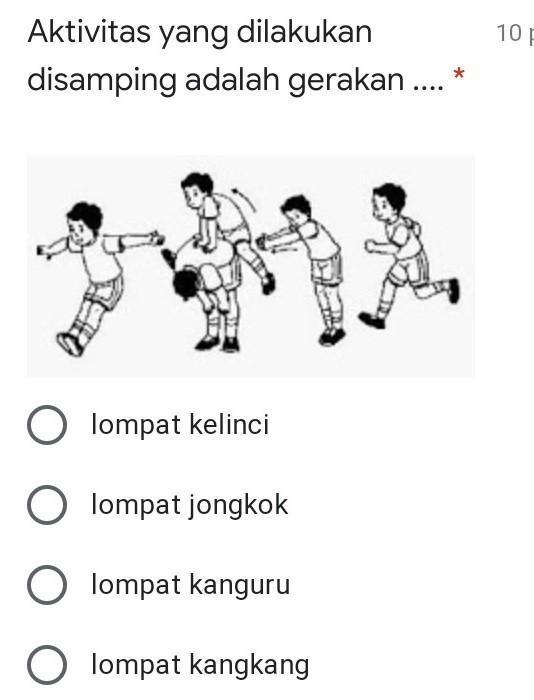 Lompat Kangkang : lompat, kangkang, Aktivitas, Dilakukan, Samping, Adalah...A.lompat, KelinciB.lompat, JongkokC.lompat, Brainly.co.id
