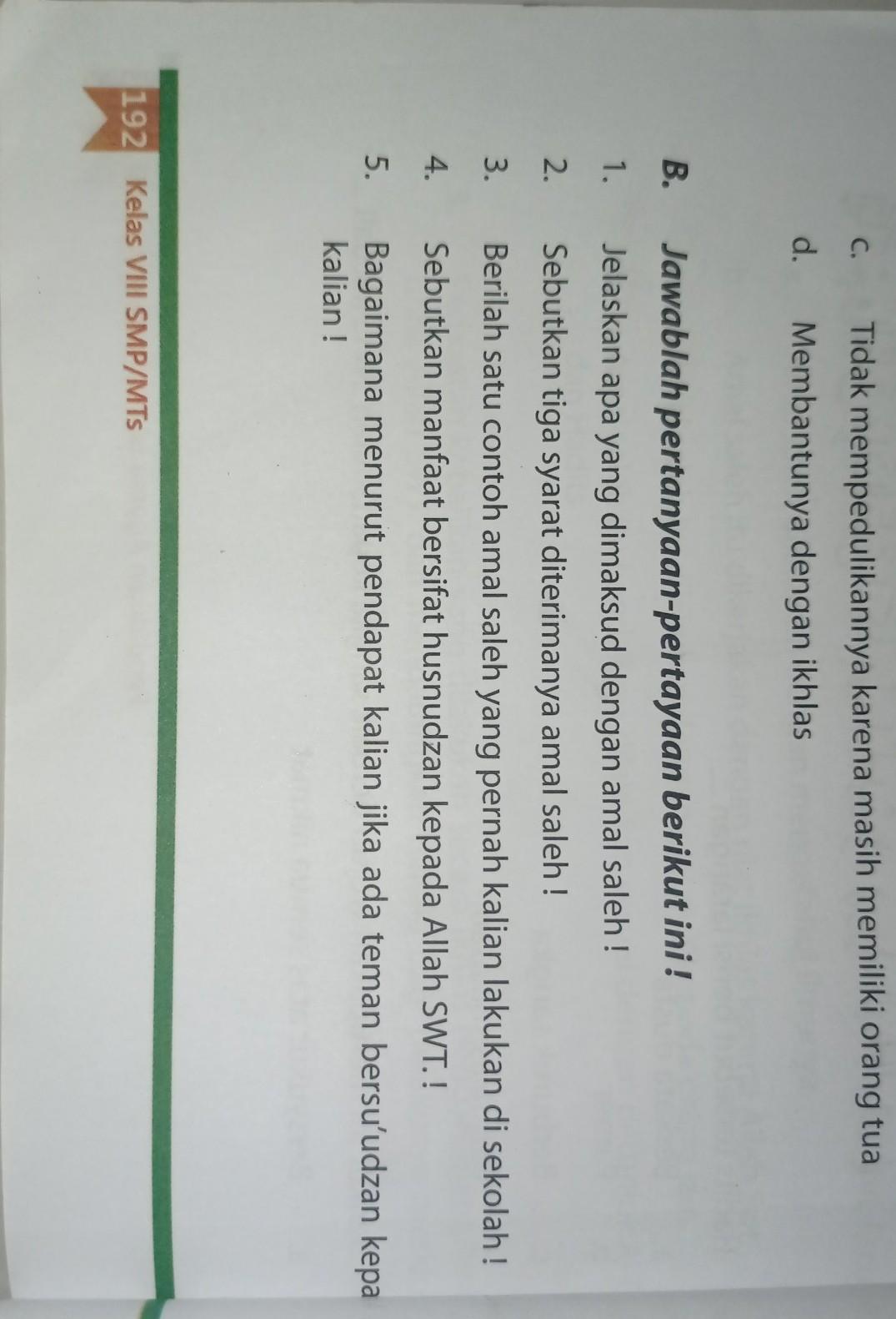 5 Contoh Amal Saleh : contoh, saleh, Jawaban, Bahasa, Indonesia, Kelas, Halaman, Menjawab