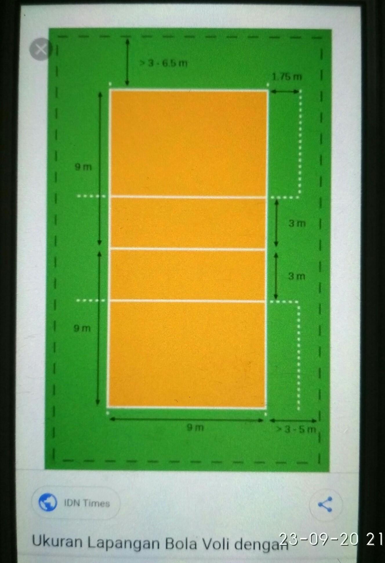 Bentuk Lapangan Bola Voli : bentuk, lapangan, Gambarlah, Bentuk, Lapangan, Lengkap, Dengan, Ukuran, Lapangannya, Brainly.co.id