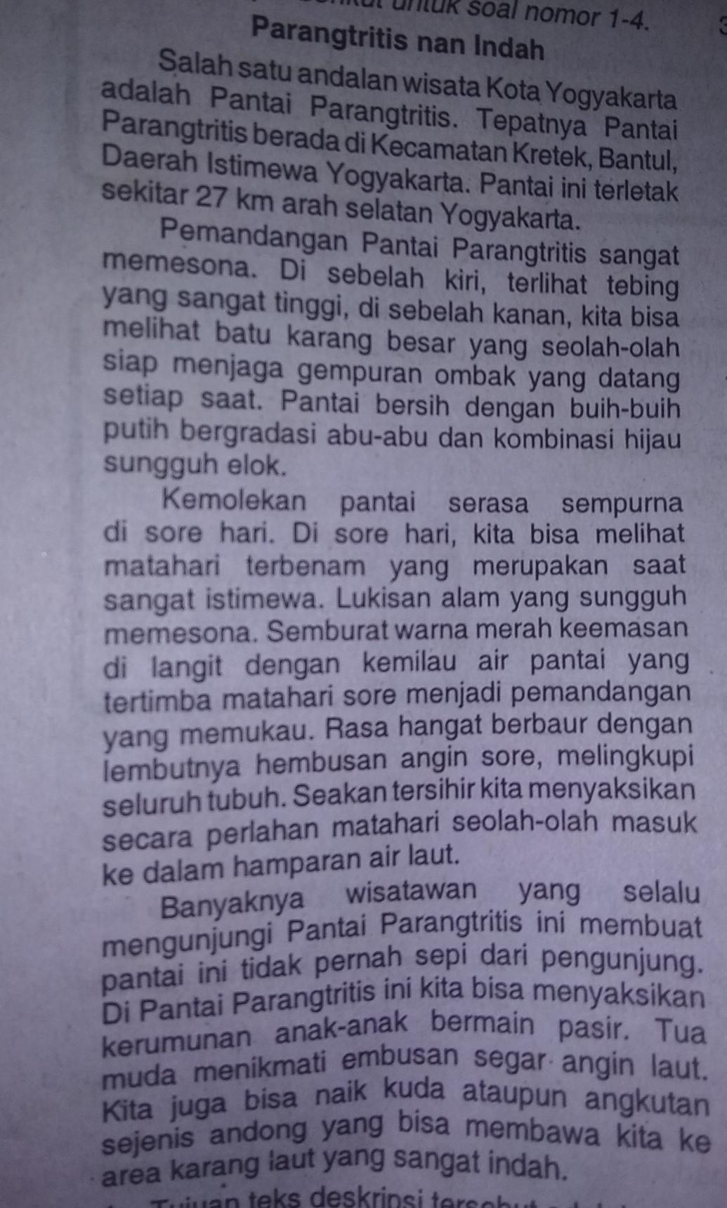 Tujuan Teks Deskripsi Parangtritis Nan Indah Yaitu : tujuan, deskripsi, parangtritis, indah, yaitu, Tujuan, Deskripsi, Parangtritis, Indah, Yaitu…, Objek, Brainly.co.id