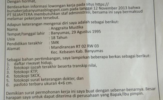 Contoh Soal Essay Bahasa Indonesia Kelas 12 Semester 1 Tentang Surat Lamaran Pekerjaan Guru Paud