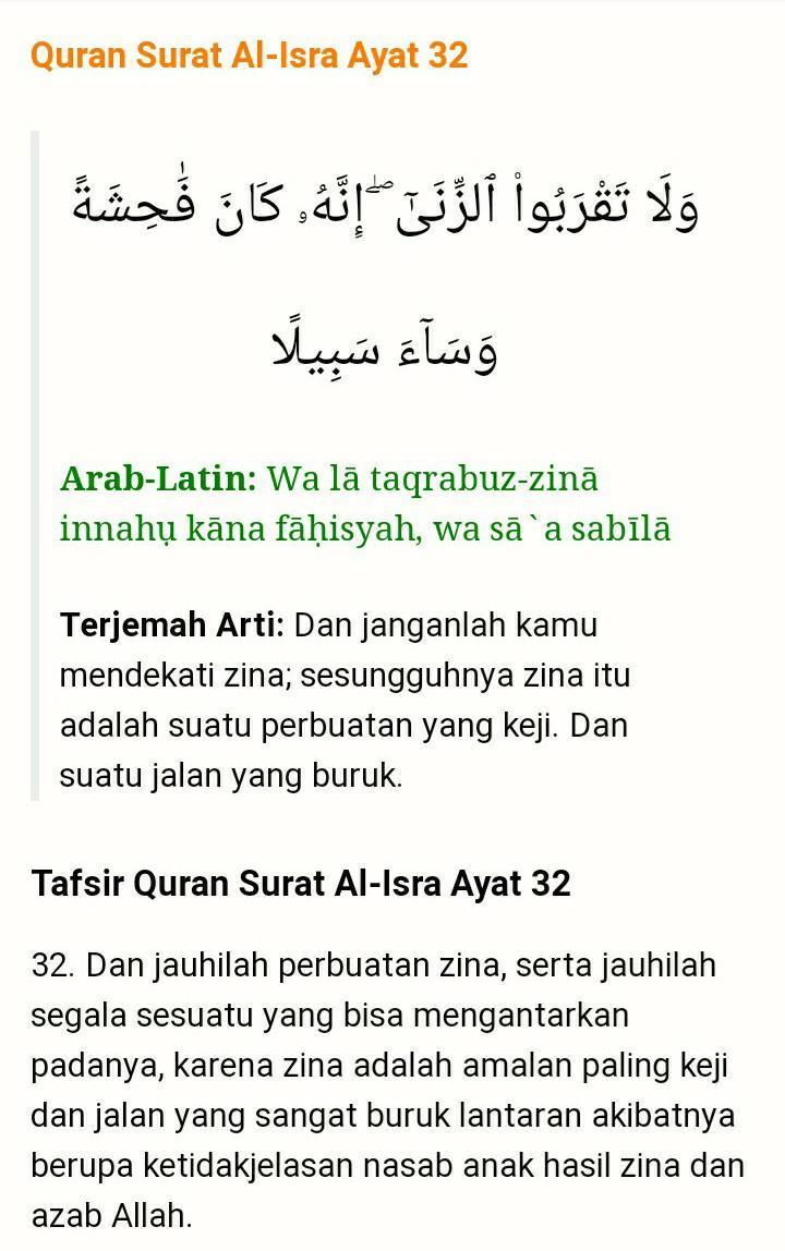 Ayat Jangan Mendekati Zina : jangan, mendekati, Tulislah, Al-Isra', Beserta, Artinya!, Brainly.co.id