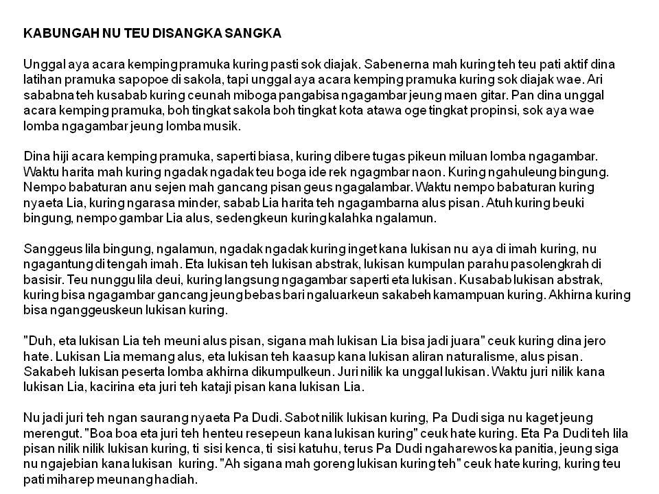 Contoh Cerpen Bahasa Sunda