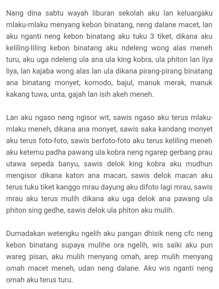 Cerita Pengalaman Bahasa Jawa : cerita, pengalaman, bahasa, Tolong, Buatkan, Cerita, Pengalaman, Menggunakan, Bahasa, Ngoko, Brainly.co.id
