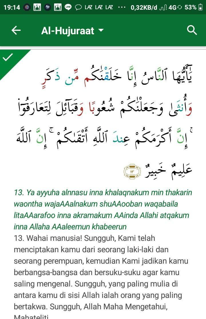Al Hujurat Ayat 13 : hujurat, Tuliskan, Surah, Hujurat, Maidah, 3,tuliskan, Artinya, Tunjukan, Brainly.co.id