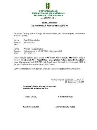 Contoh Surat Mandat : contoh, surat, mandat, Contoh, Surat, Mandat, Pimpinan, Daerah, Muhammadiyah, Brainly.co.id