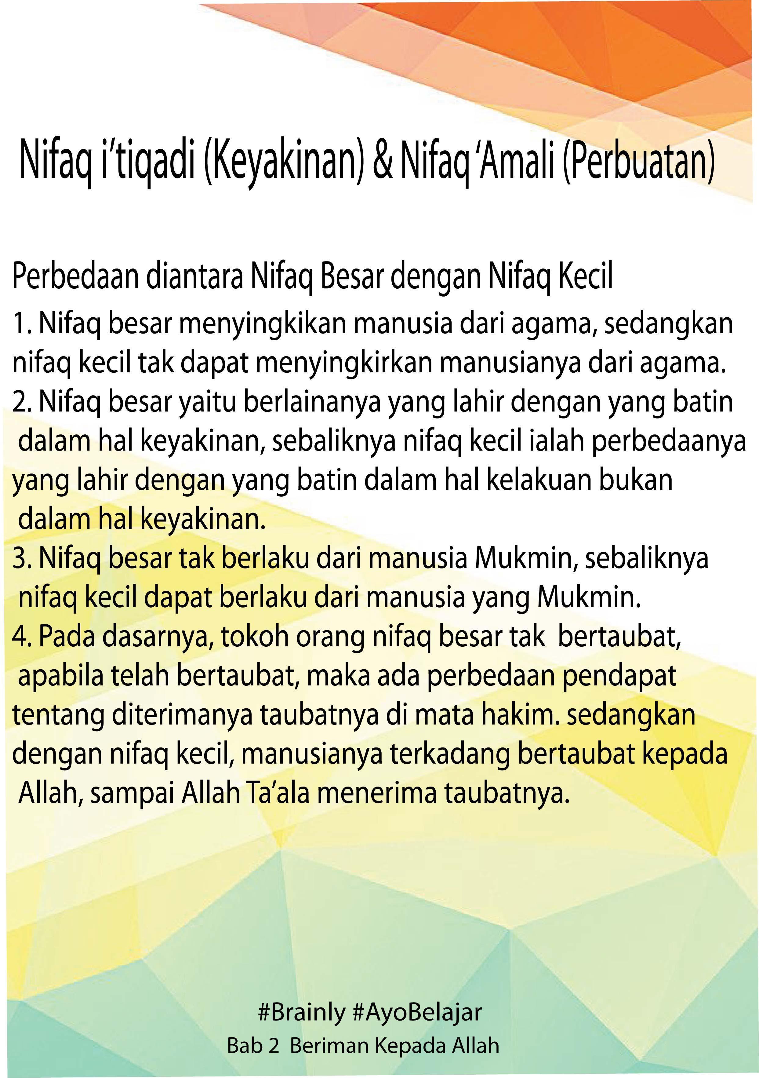 Nifak Artinya : nifak, artinya, Jelaskan, Dimaksud, Nifaq, I'tiqadi, Amali, Brainly.co.id