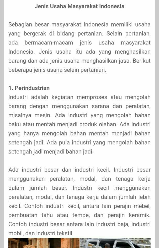 Jenis Dan Contoh Usaha Perekonomian Di Indonesia - Materi