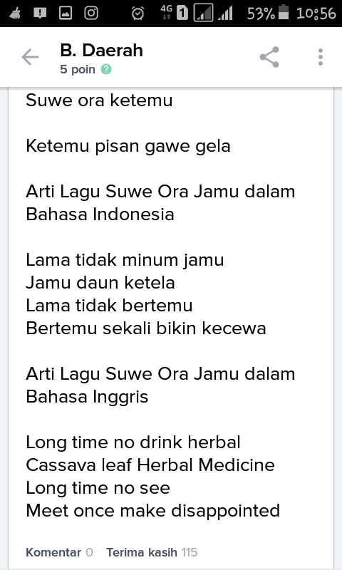 Lirik Lagu Suwe Ora Jamu - Daerah Istimewa Yogyakarta