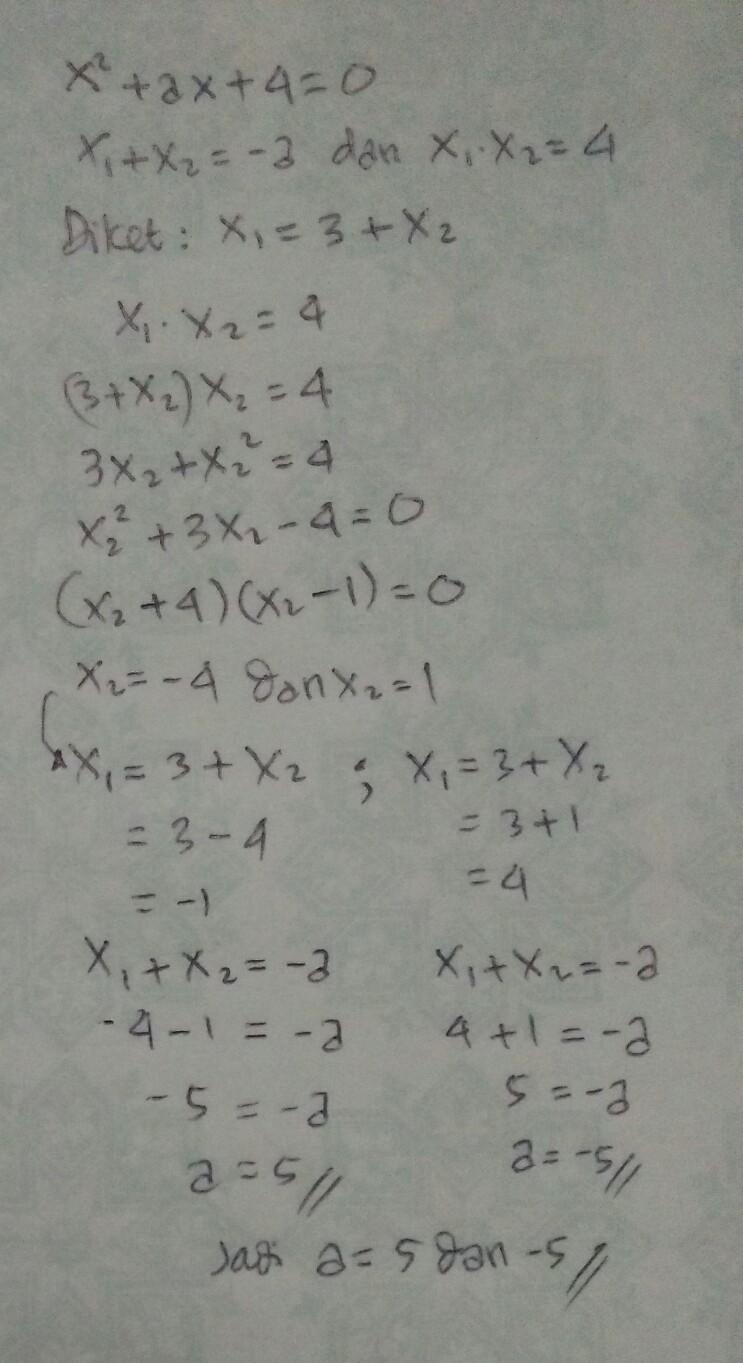 Salah Satu Akar Persamaan Kuadrat : salah, persamaan, kuadrat, Salah, Persamaan, X²+ax+4=0, Lebih, Lain., Nilai, Memenuhi, Brainly.co.id