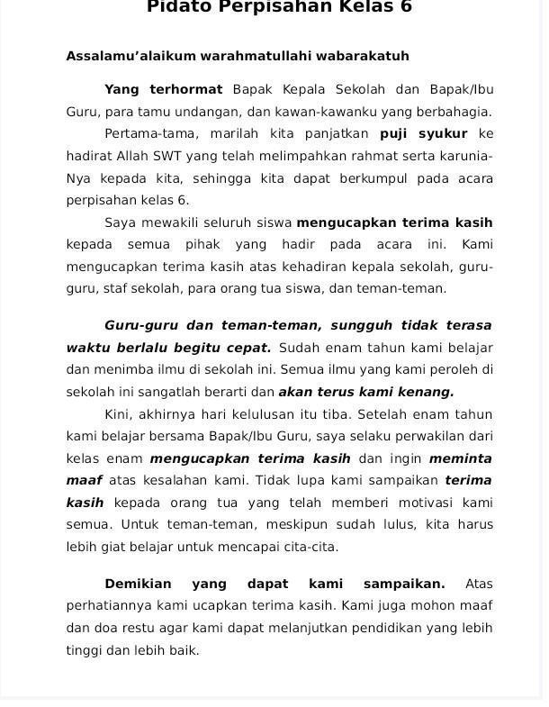 Pidato Tentang Perpisahan : pidato, tentang, perpisahan, Pidato, Perpisahan, Sekolah, Brainly.co.id