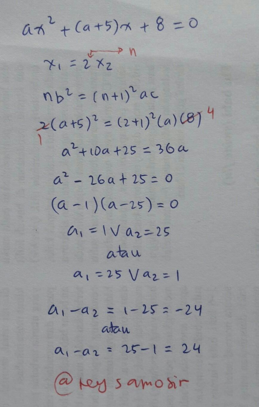 Salah Satu Akar Persamaan Kuadrat : salah, persamaan, kuadrat, Salah, Persamaan, Ax^2+(a+5)x+8=0, Adalah, Lainnya., Apabila, Brainly.co.id