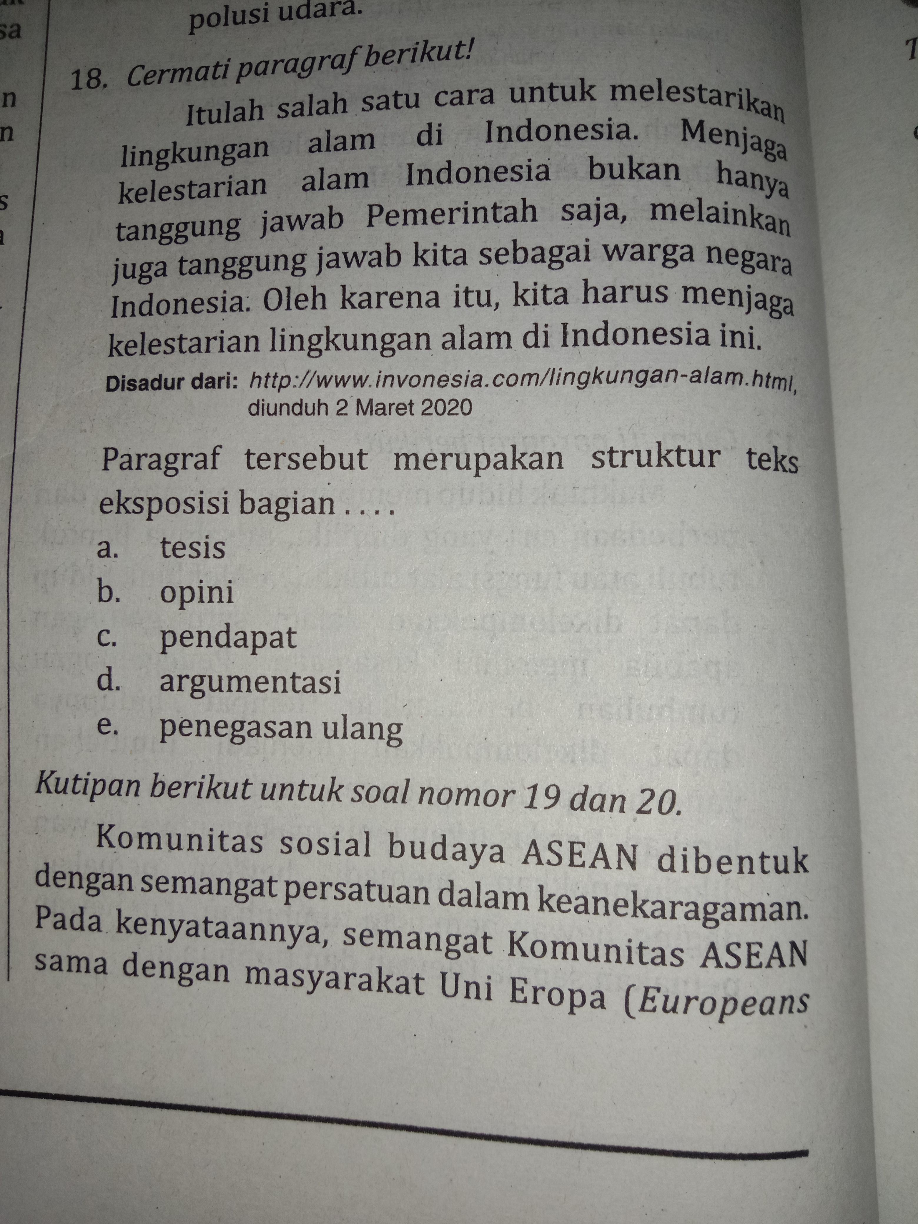 Struktur Teks Argumentasi : struktur, argumentasi, 18.Paragraf, Tersebut, Merupakan, Struktur, Eksposisi, Bagian.., A.tesis, C.pendapat, B.opini, Brainly.co.id