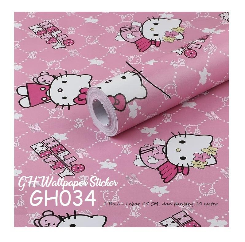 WALLPAPER STICKER DINDING GH KARAKTER HELLOKITTY 45cmx10m wallsticker