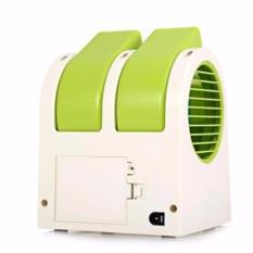 AC MINI USB PORTABLE DOUBLE BLOWER - KIPAS ANGIN AC MINI FAN - HIJAU
