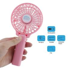 One Handle Kipas Angin SF-2 Rechargeable Mini Lipat Gagang Foldable & Portable with Baterry Charge - Pink