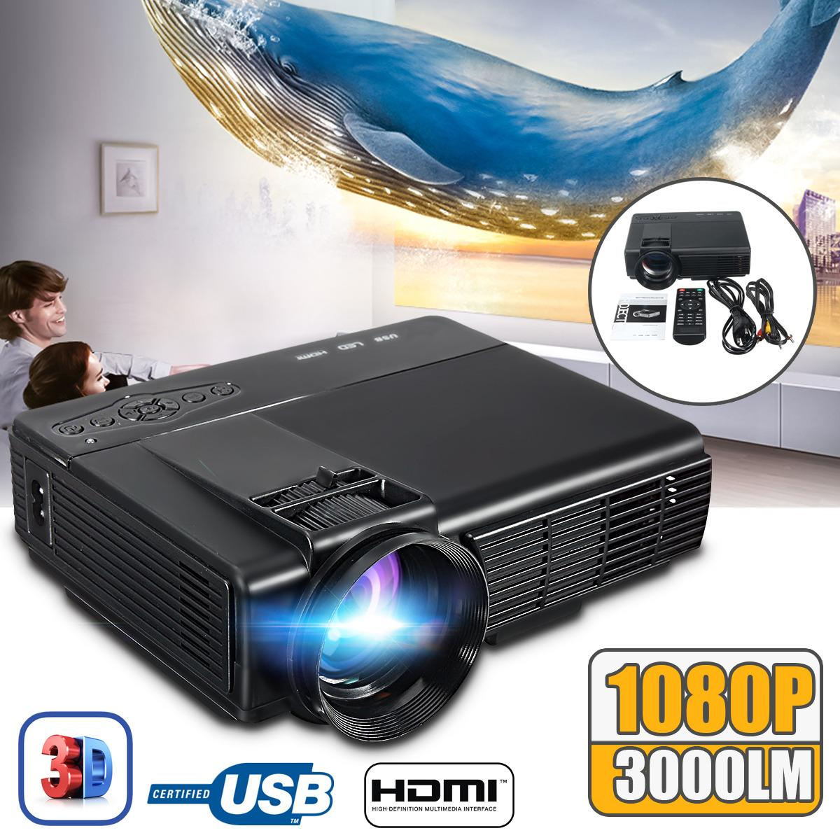 3000 Lumen 1080P HD LED 3D LCD Home Theater Projector Multimedia SD USB VGA HDMI EU Plug - intl
